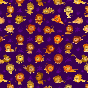 Kawaii Little Lions Purple by Cheerful Madness!!