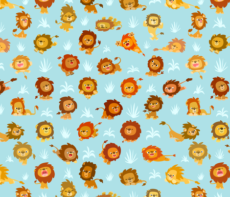 Kawaii Little Lions Light Blue by Cheerful Madness!! fabric by cheerfulmadness_cartoons on Spoonflower - custom fabric