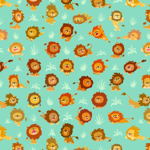 Kawaii Little Lions Light Green by Cheerful Madness!!