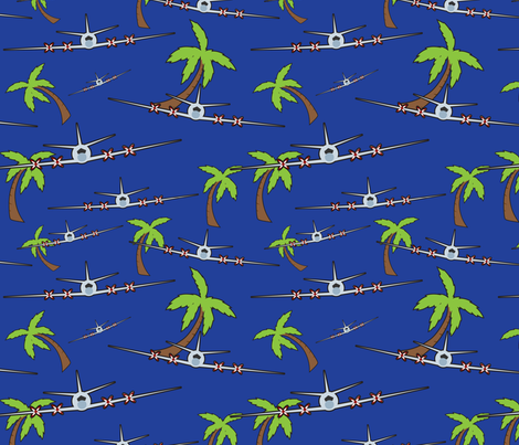 Airplanes and Palm Trees fabric by mainsail_studio on Spoonflower - custom fabric