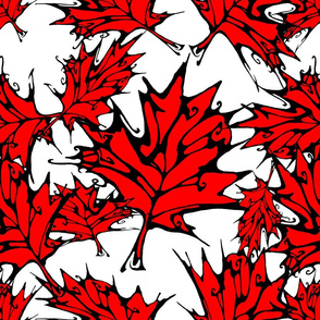 Inkblot Red Maple Leaves