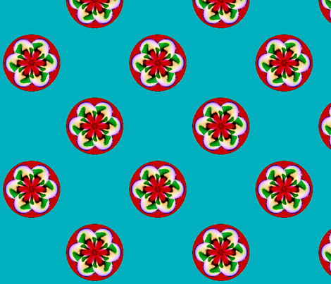 Florabuttons__-turquoise_with_red fabric by fireflower on Spoonflower - custom fabric