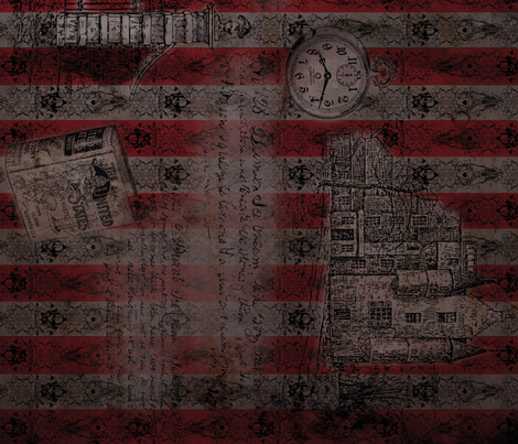 Timeline of a Dream - black/darkred fabric by atelierpinky on Spoonflower - custom fabric