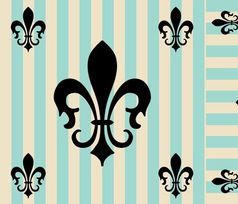 Fleur de Lis Stripe Blue-Green fabric by laurijon on Spoonflower - custom fabric