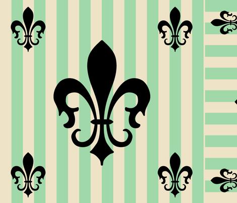 Fleur de Lis Stripe Green fabric by laurijon on Spoonflower - custom fabric