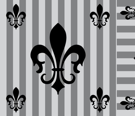 Fleur de Lis Stripe Gray-Charcoal fabric by laurijon on Spoonflower - custom fabric
