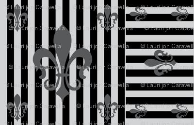 Fleur de Lis Stripe Gray-Black