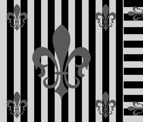 Fleur de Lis Stripe Gray-Black fabric by laurijon on Spoonflower - custom fabric