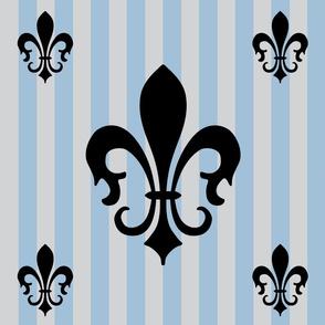 Fleur de Lis Stripe Blue-Gray on Gray