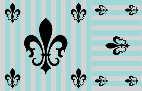 Fleur de Lis Stripe Blue Stripe on Gray fabric by laurijon on Spoonflower - custom fabric