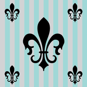Fleur de Lis Stripe Blue Stripe on Gray