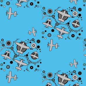 airplanes in blue sky