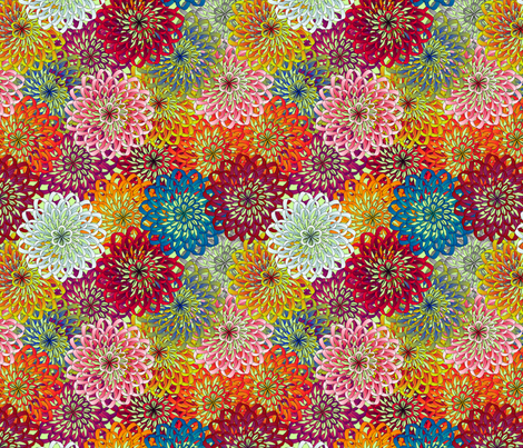 ribbon mums fabric by glimmericks on Spoonflower - custom fabric
