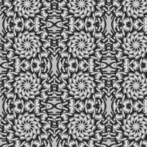 flower lace latticy look fabric in grey, black and white