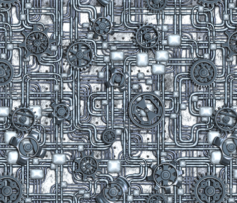 Steampunk Panel - Gears and Pipes - Steel fabric by bonnie_phantasm on Spoonflower - custom fabric
