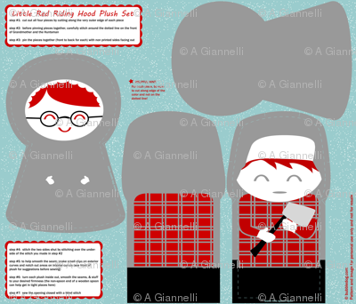 DIY little red riding hood plush pattern set #2