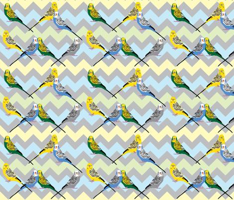 chevron-parakeets-multi2 fabric by owlandchickadee on Spoonflower - custom fabric