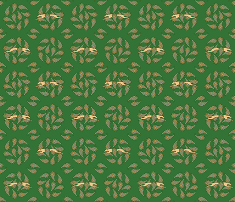 Paisley Circle Greyhound  tan green © 2012 by Jane Walker fabric by artbyjanewalker on Spoonflower - custom fabric