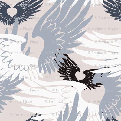 Camo Heartwings II: Silvery Grays on Beige