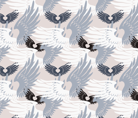 Camo Heartwings II: Silvery Grays on Beige fabric by penina on Spoonflower - custom fabric