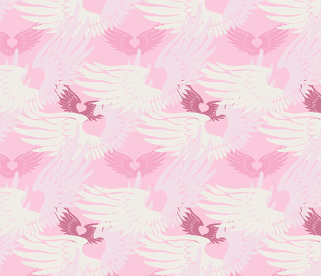 Heartwings II: Pink & Beige fabric by penina on Spoonflower - custom fabric