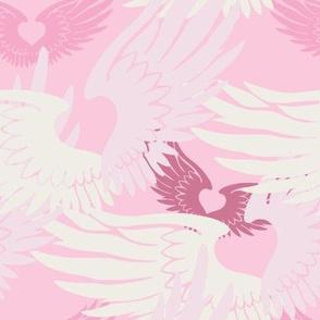 Heartwings II: Pink & Beige