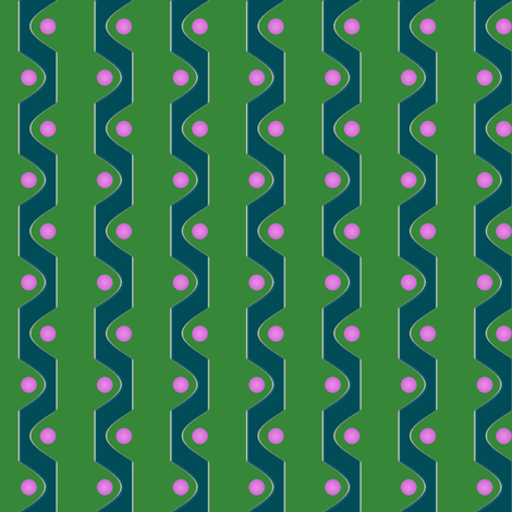Sine Stripe V   -Green and Teal with Pink Dots fabric by fireflower on Spoonflower - custom fabric