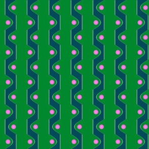 Sine Stripe V   -Green and Teal with Pink Dots