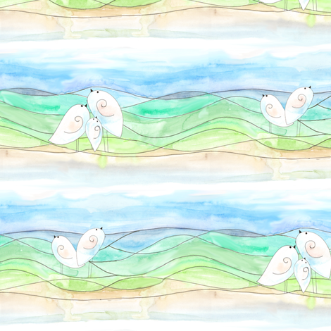 Birdies (small print) fabric by wiccked on Spoonflower - custom fabric