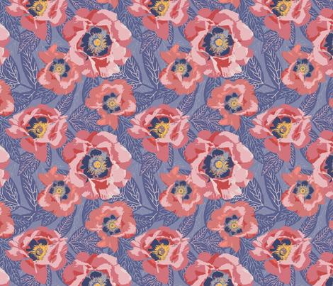 peonies in sunset beach fabric by creative_merritt on Spoonflower - custom fabric