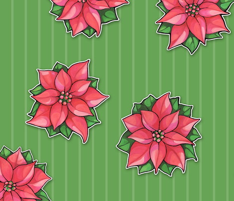Poinsettia Joy  on green stripes fabric by floating_lemons on Spoonflower - custom fabric