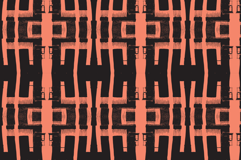 The Writing on the Wall - Black with Coral fabric by susaninparis on Spoonflower - custom fabric