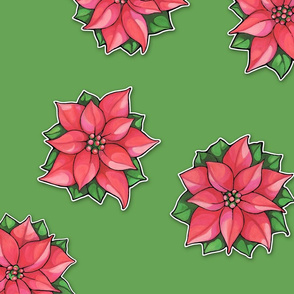 Poinsettia Joy on green