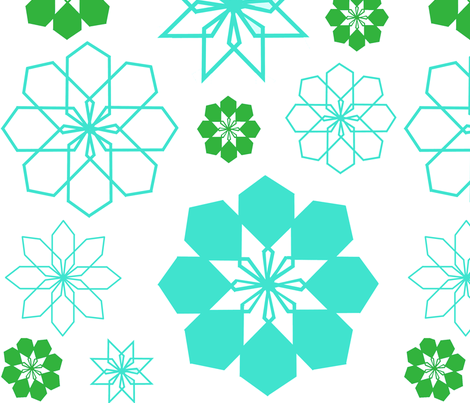 fabric_floral_green_and_aqua-ch fabric by bexcaliber on Spoonflower - custom fabric