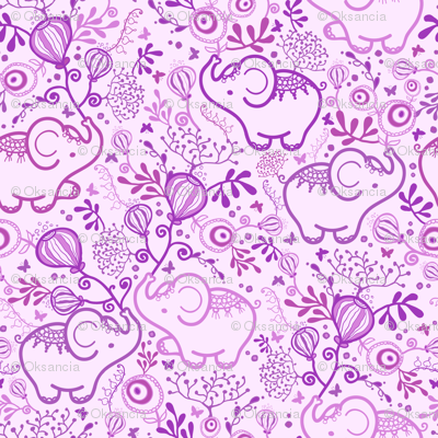 Purple Elephants With Bouquets