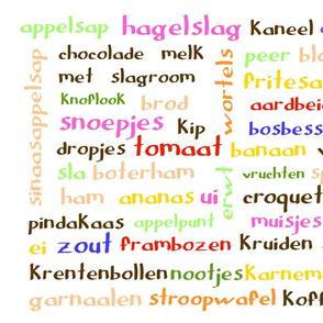 Dutch food words (colour) - tea towel