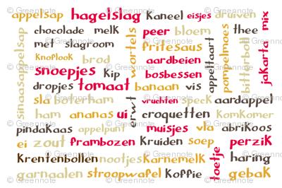 Dutch food words (Retro) - tea towel