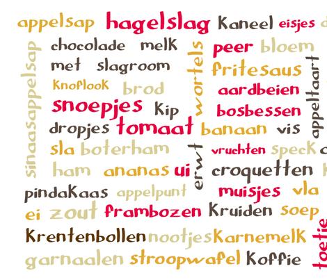 Dutch food words (Retro) - tea towel fabric by greennote on Spoonflower - custom fabric