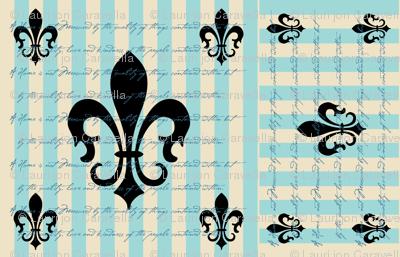 Fleur de Lis Stripe Blue with Text