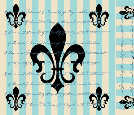 Fleur de Lis Stripe Blue with Text fabric by laurijon on Spoonflower - custom fabric