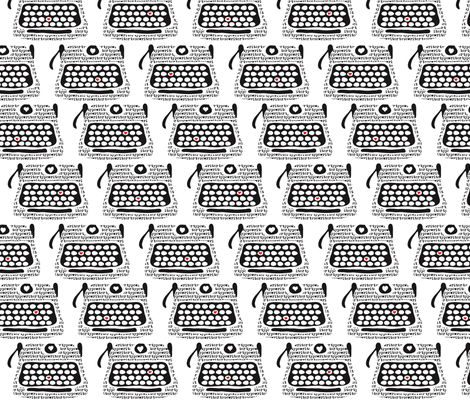 Clickity Clack (I heart in red the typewritten word)!  fabric by vo_aka_virginiao on Spoonflower - custom fabric