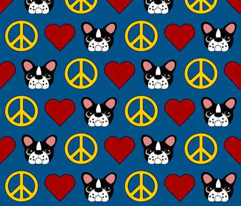 Love, Peace and Frenchies!  fabric by missyq on Spoonflower - custom fabric