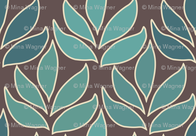 Leaf Texture Fabric new crop bluegreen minagreen brown 1b medium