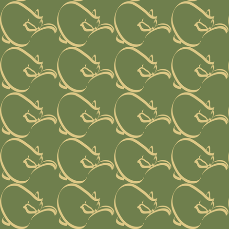 Curlcat small pattern 2011 OLIVE fabric by mina on Spoonflower - custom fabric