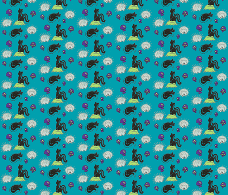 Friend or Foe in Teal fabric by kbexquisites on Spoonflower - custom fabric
