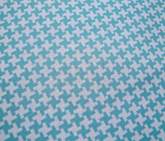 Turquoise Houndstooth || geometric check cross midcentury modern
