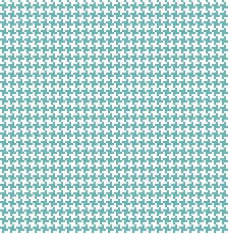 Turquoise Houndstooth || geometric check cross midcentury modern fabric by pennycandy on Spoonflower - custom fabric
