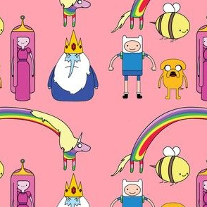 adventure time pink design with rainbows