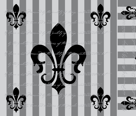 Fleur de Lis Stripe Gray Charcoal with Text fabric by laurijon on Spoonflower - custom fabric