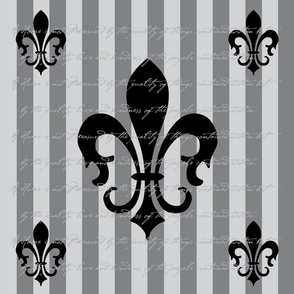Fleur de Lis Stripe Gray Charcoal with Text